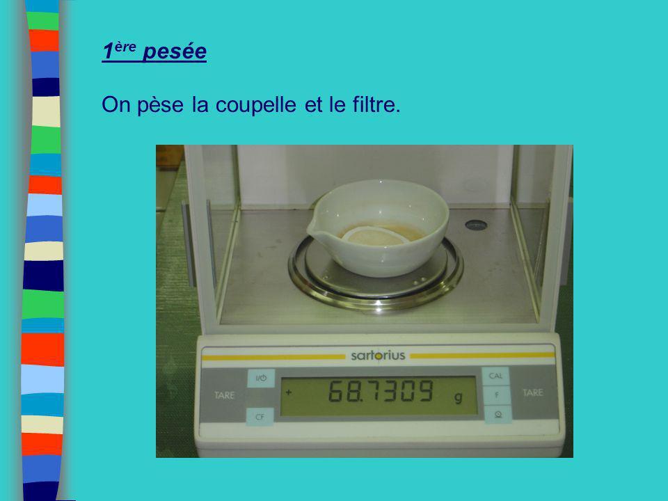 1ère pesée On pèse la coupelle et le filtre.