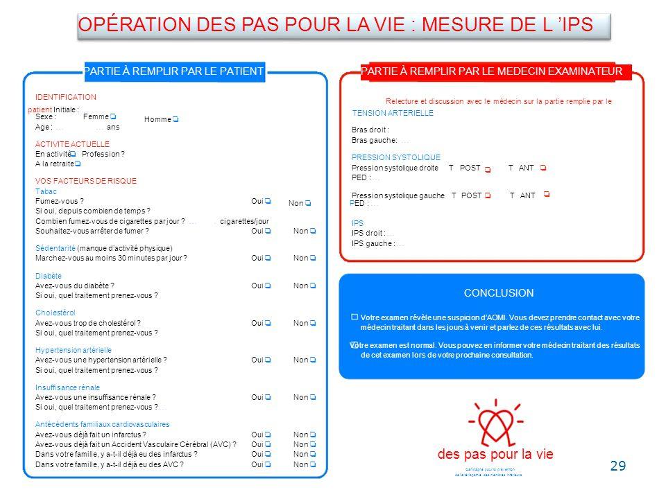 OPÉRATION DES PAS POUR LA VIE : MESURE DE L 'IPS
