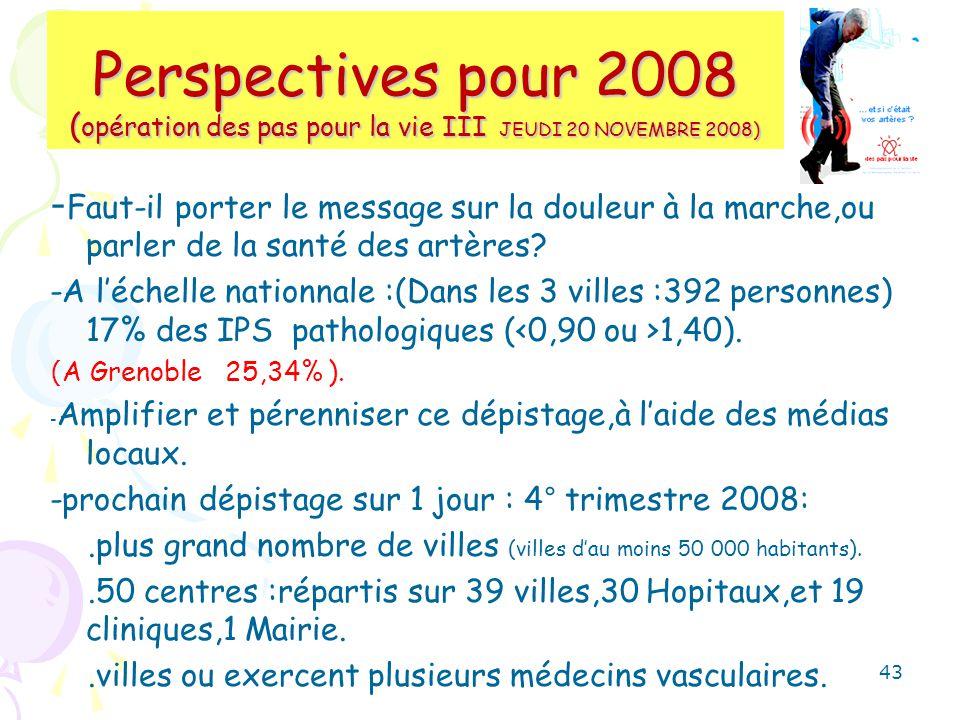Perspectives pour 2008 (opération des pas pour la vie III JEUDI 20 NOVEMBRE 2008)