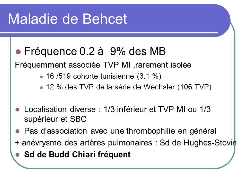 Maladie de Behcet Fréquence 0.2 à 9% des MB
