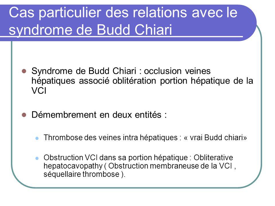 Cas particulier des relations avec le syndrome de Budd Chiari
