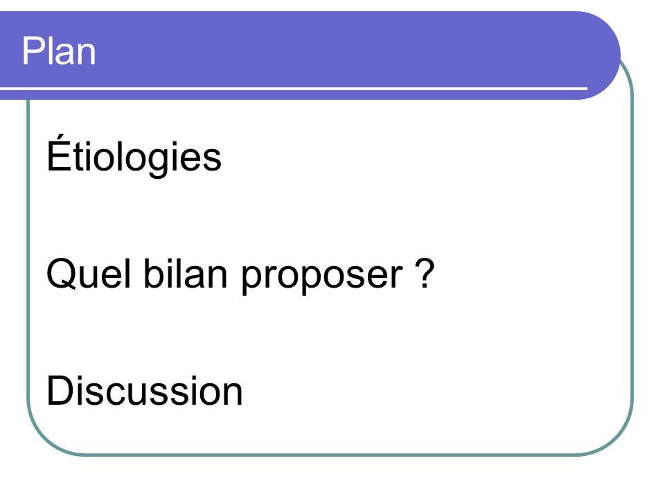 Plan Étiologies Quel bilan proposer Discussion