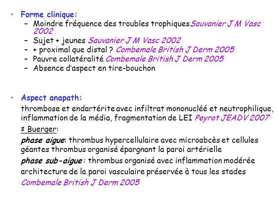 Forme clinique: Moindre fréquence des troubles trophiquesSauvanier J M Vasc 2002. Sujet + jeunes Sauvanier J M Vasc 2002.