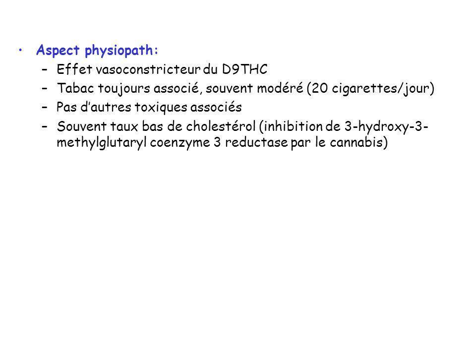 Aspect physiopath: Effet vasoconstricteur du D9THC. Tabac toujours associé, souvent modéré (20 cigarettes/jour)