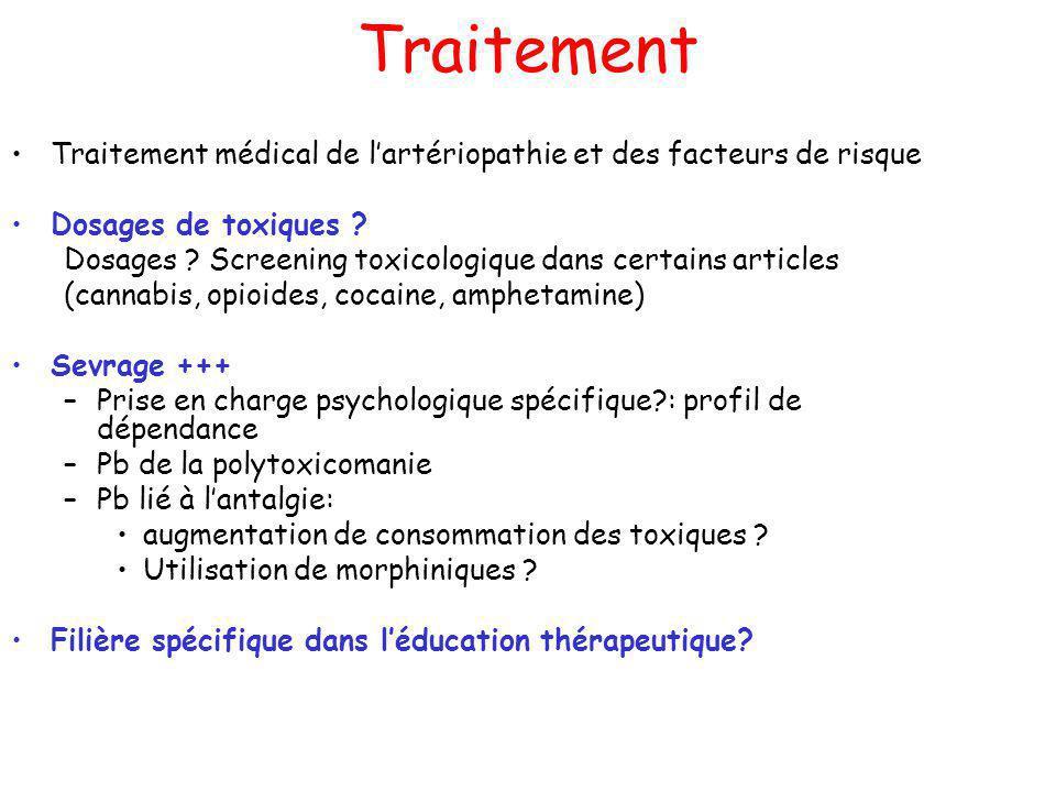 Traitement Traitement médical de l'artériopathie et des facteurs de risque. Dosages de toxiques