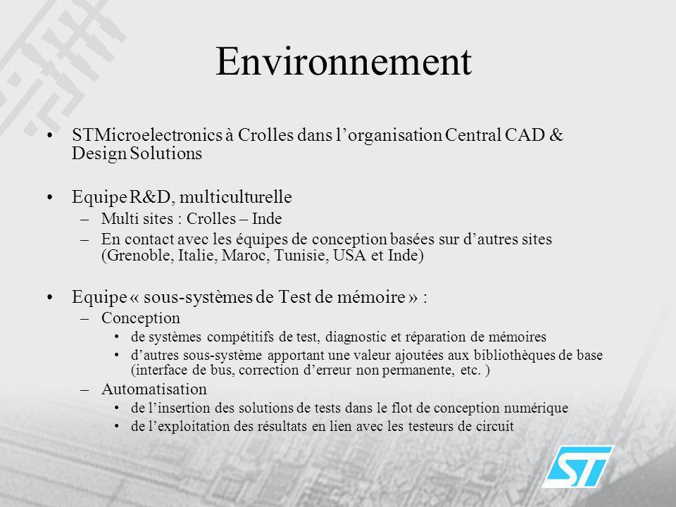 Environnement STMicroelectronics à Crolles dans l'organisation Central CAD & Design Solutions. Equipe R&D, multiculturelle.