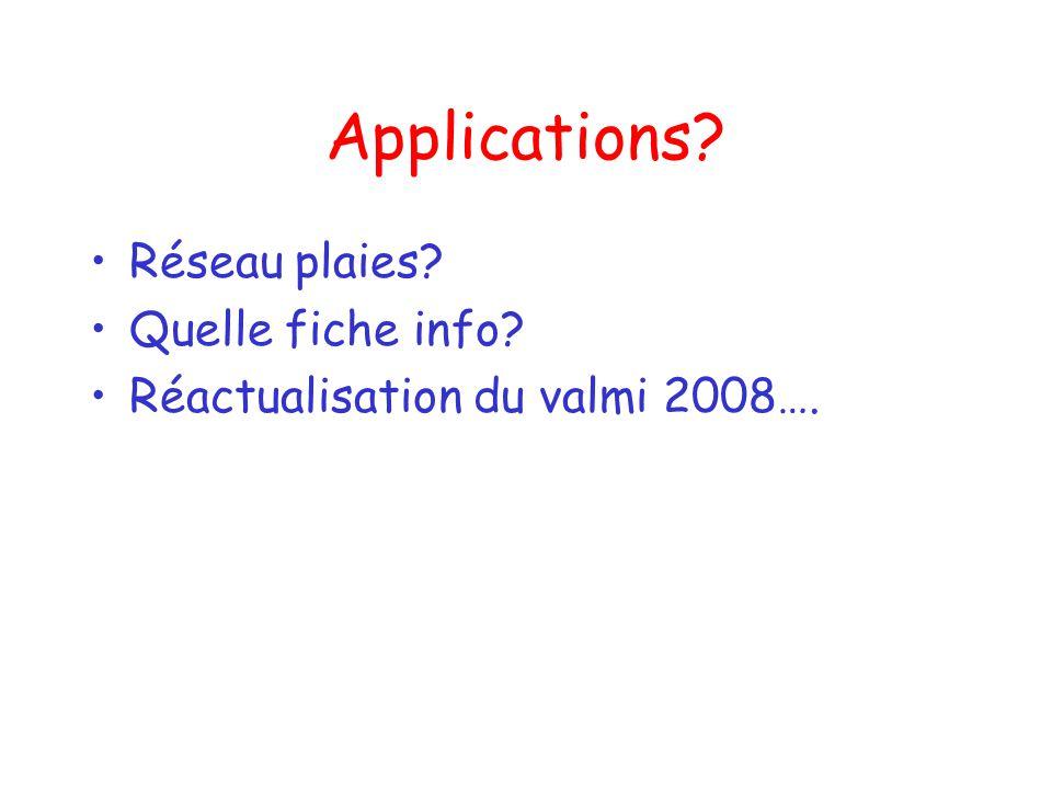 Applications Réseau plaies Quelle fiche info