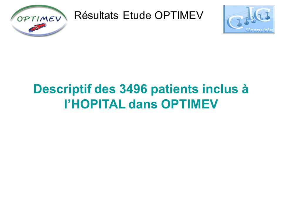 Descriptif des 3496 patients inclus à l'HOPITAL dans OPTIMEV