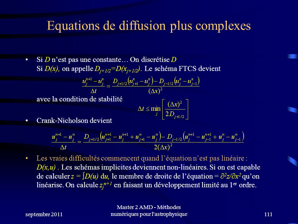 Equations de diffusion plus complexes