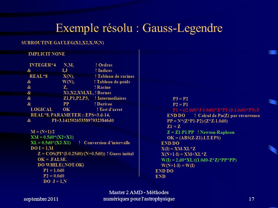 Exemple résolu : Gauss-Legendre