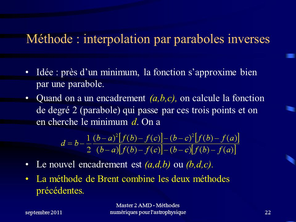 Méthode : interpolation par paraboles inverses