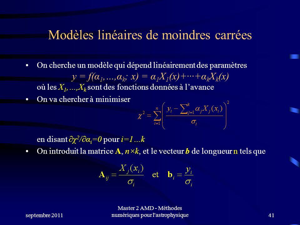 Modèles linéaires de moindres carrées