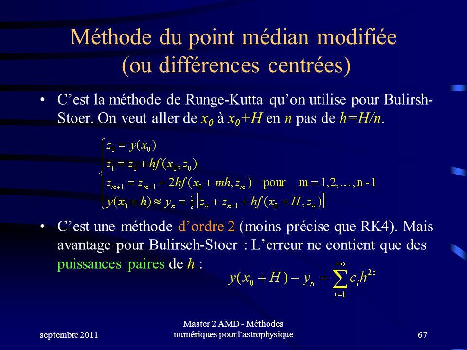 Méthode du point médian modifiée (ou différences centrées)
