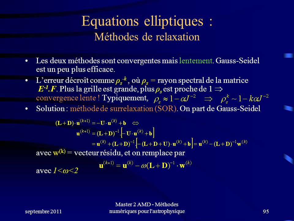 Equations elliptiques : Méthodes de relaxation