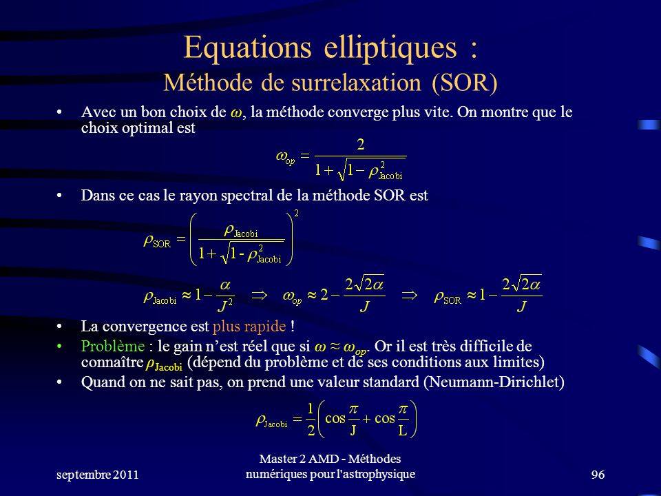 Equations elliptiques : Méthode de surrelaxation (SOR)