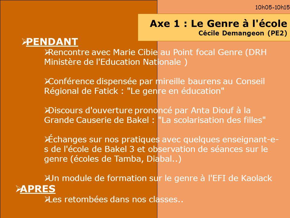 Axe 1 : Le Genre à l école Cécile Demangeon (PE2)