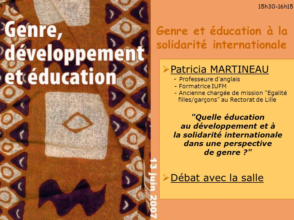 Genre et éducation à la solidarité internationale