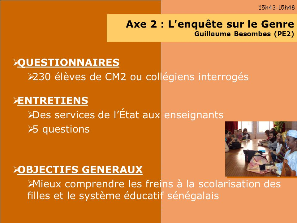 Axe 2 : L enquête sur le Genre Guillaume Besombes (PE2)