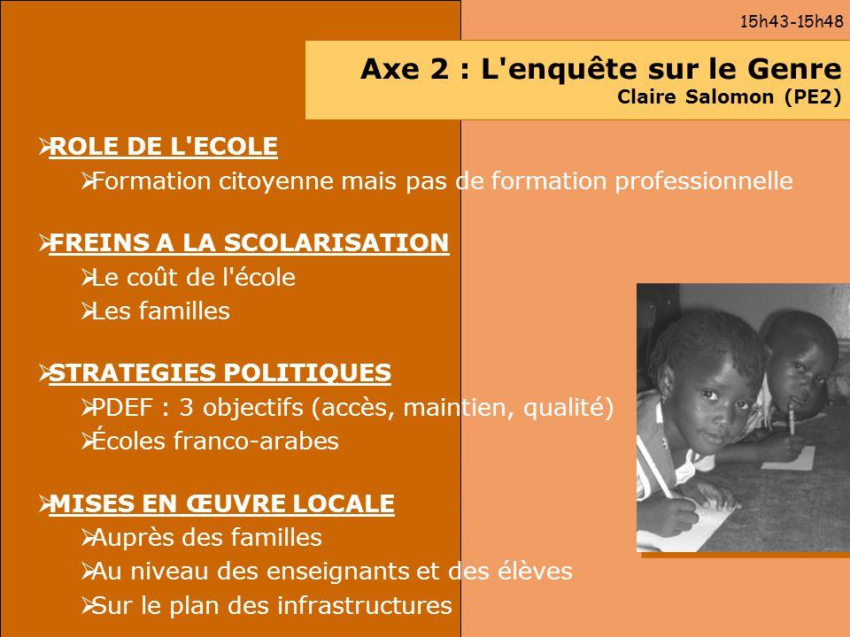 Axe 2 : L enquête sur le Genre Claire Salomon (PE2)