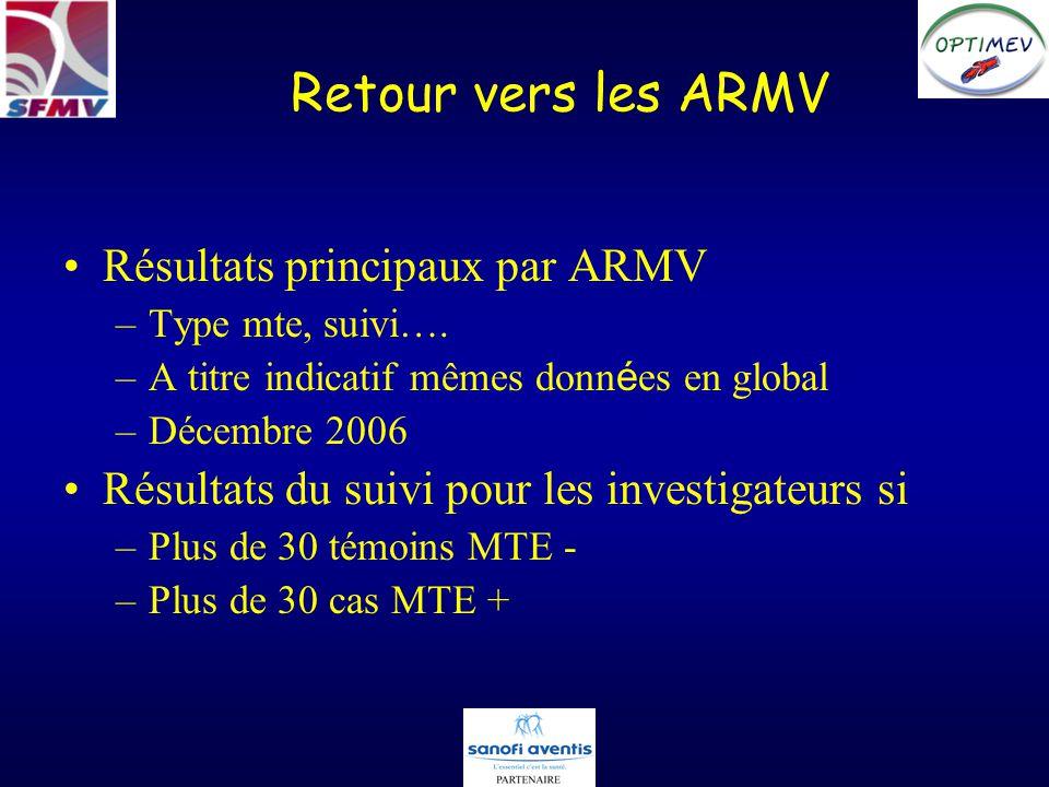 Retour vers les ARMV Résultats principaux par ARMV