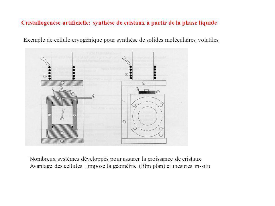 Cristallogenèse artificielle: synthèse de cristaux à partir de la phase liquide