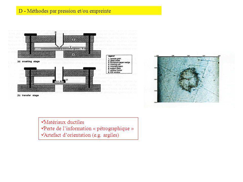 D - Méthodes par pression et/ou empreinte