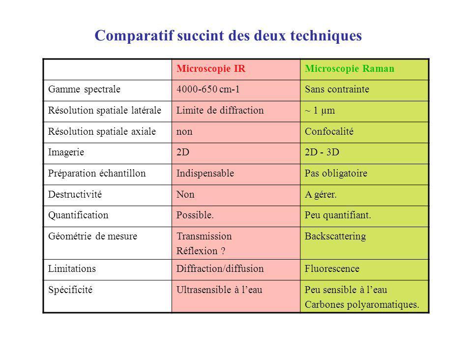 Comparatif succint des deux techniques