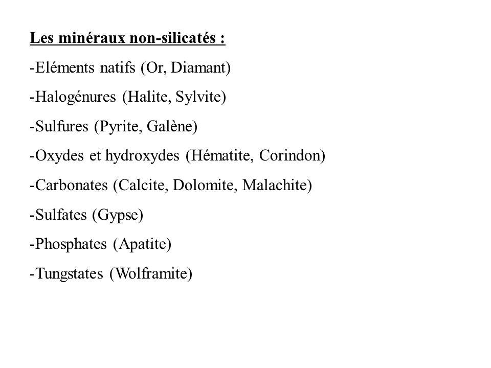 Les minéraux non-silicatés :