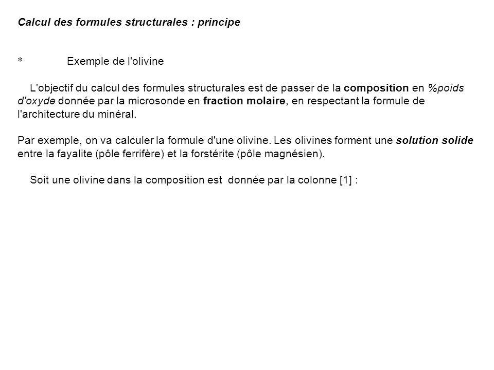 Calcul des formules structurales : principe