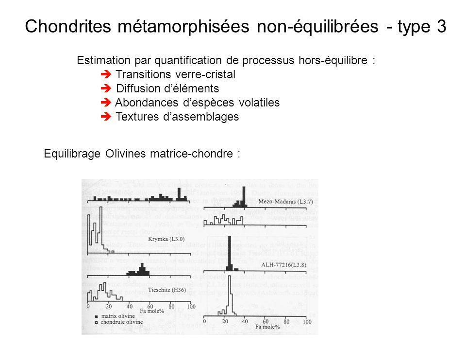 Chondrites métamorphisées non-équilibrées - type 3