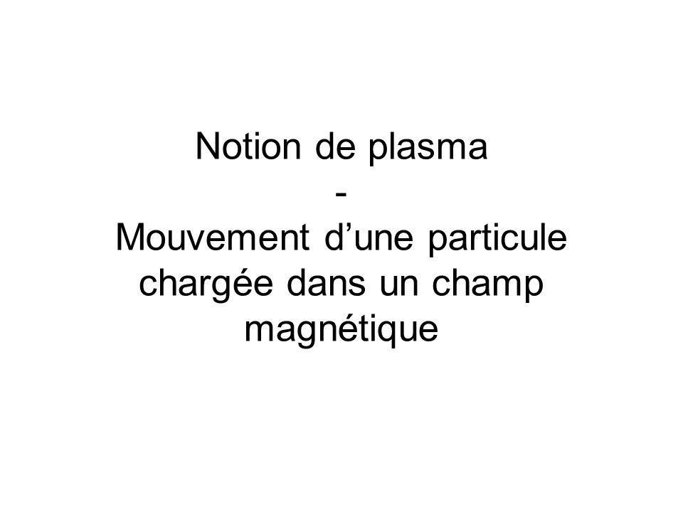 Notion de plasma - Mouvement d'une particule chargée dans un champ magnétique