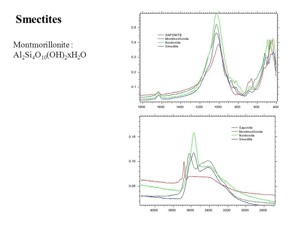 Smectites Montmorillonite : Al2Si4O10(OH)2xH2O