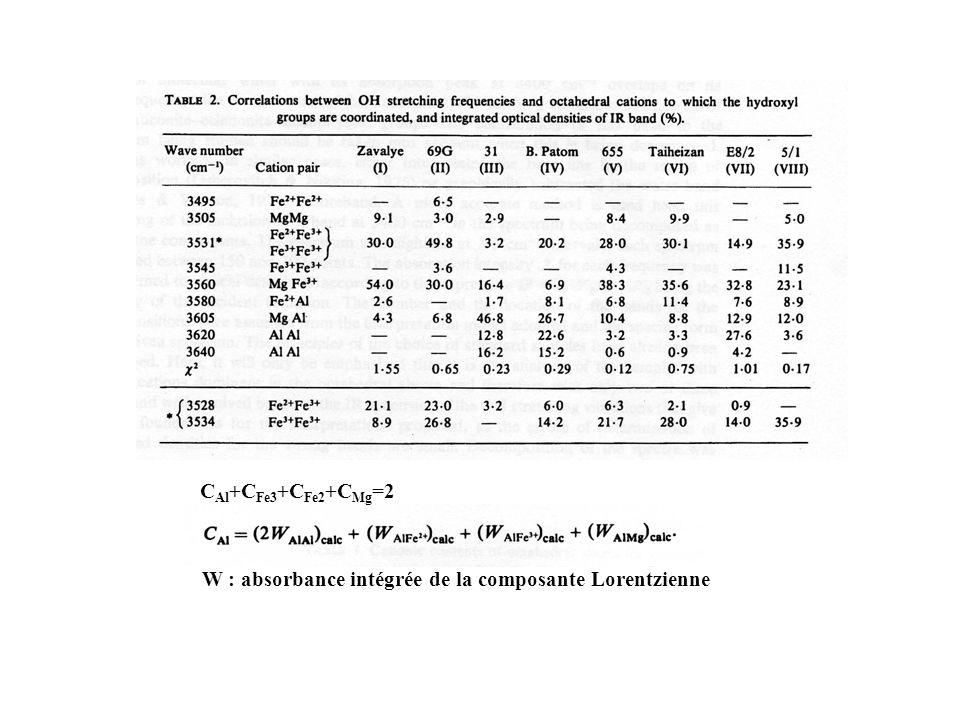 CAl+CFe3+CFe2+CMg=2 W : absorbance intégrée de la composante Lorentzienne