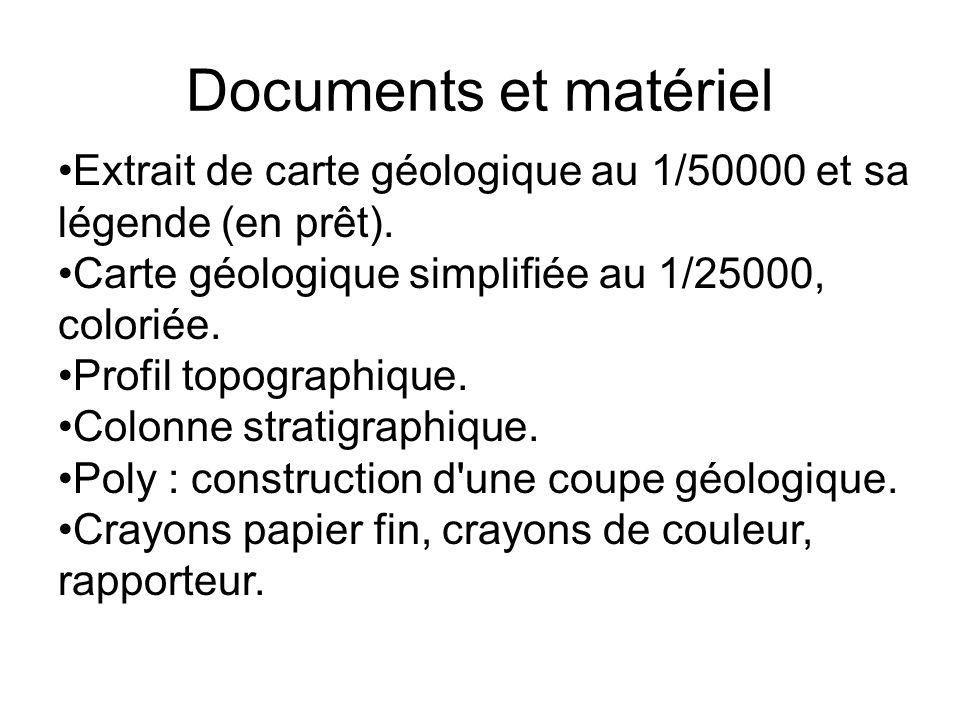 Documents et matériel Extrait de carte géologique au 1/50000 et sa légende (en prêt). Carte géologique simplifiée au 1/25000, coloriée.