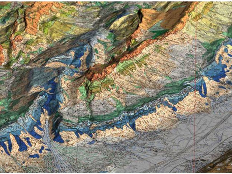 Carte géol en relief D'après diaporama « Alpes Externes » de Thierry Dumont.