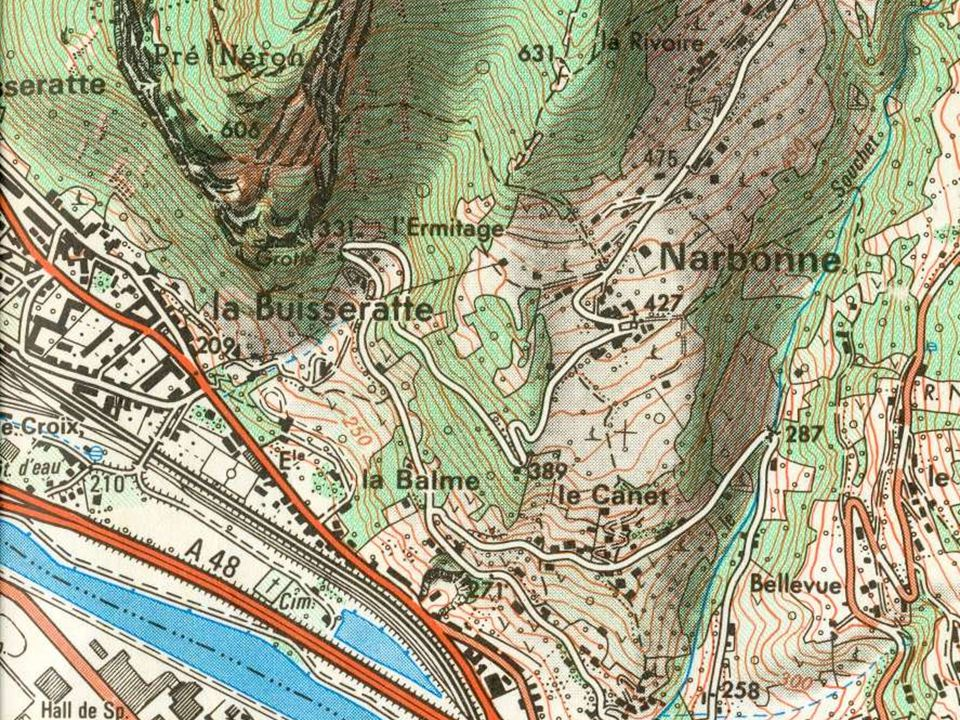 Codages carte topo Bleu : réseau hydrographique Vert : végétation