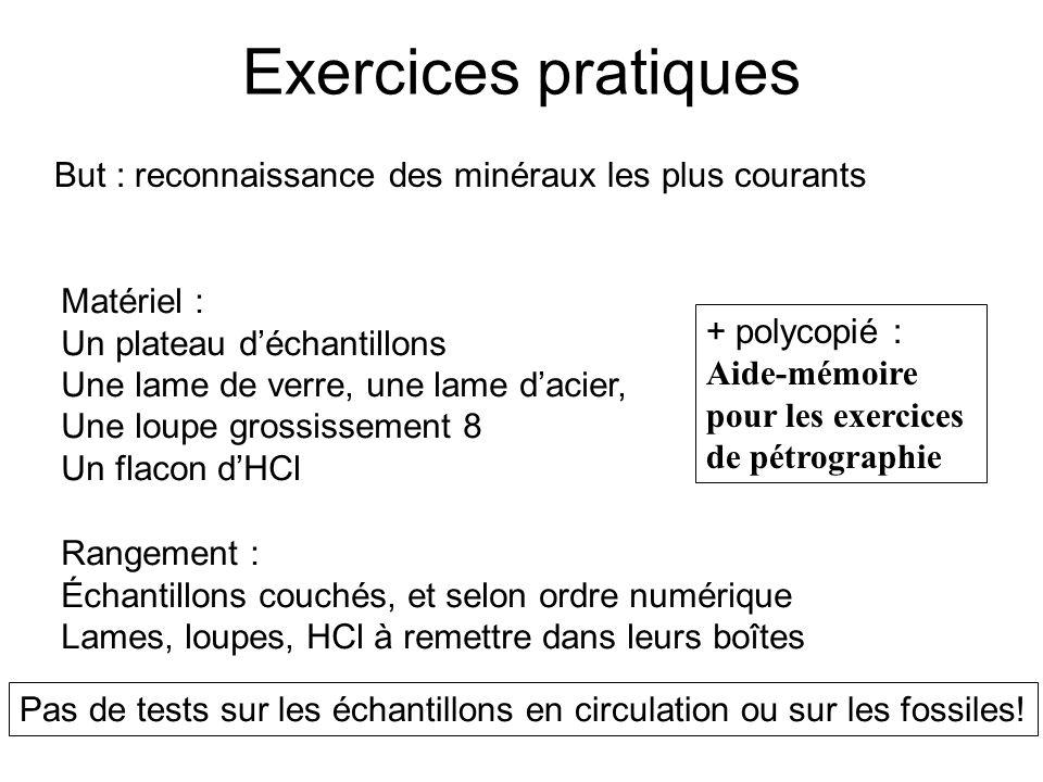 Exercices pratiques But : reconnaissance des minéraux les plus courants. Matériel : Un plateau d'échantillons.