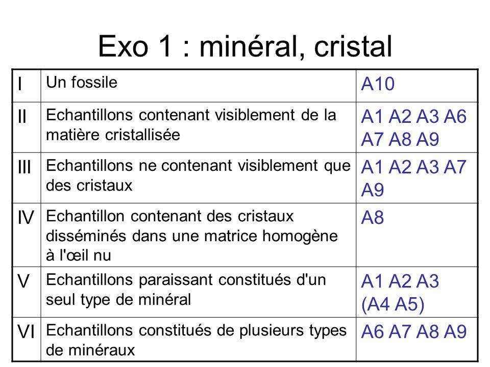 Exo 1 : minéral, cristal I A10 II A1 A2 A3 A6 A7 A8 A9 III