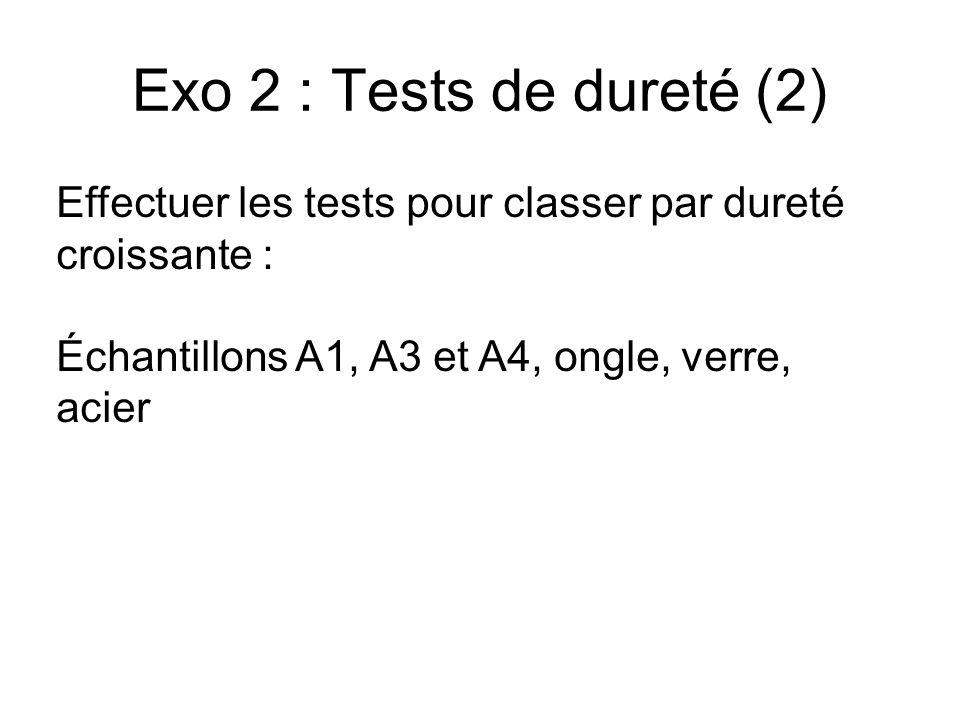 Exo 2 : Tests de dureté (2) Effectuer les tests pour classer par dureté croissante : Échantillons A1, A3 et A4, ongle, verre, acier.