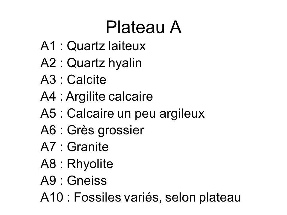 Plateau A A1 : Quartz laiteux A2 : Quartz hyalin A3 : Calcite