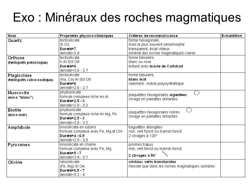 Exo : Minéraux des roches magmatiques