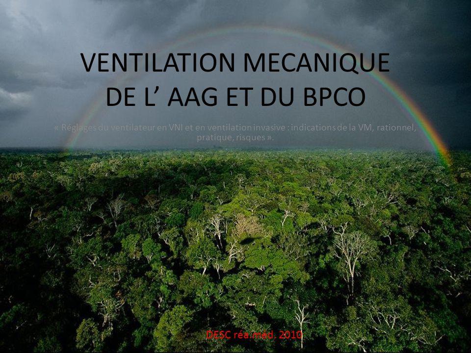 VENTILATION MECANIQUE DE L' AAG ET DU BPCO