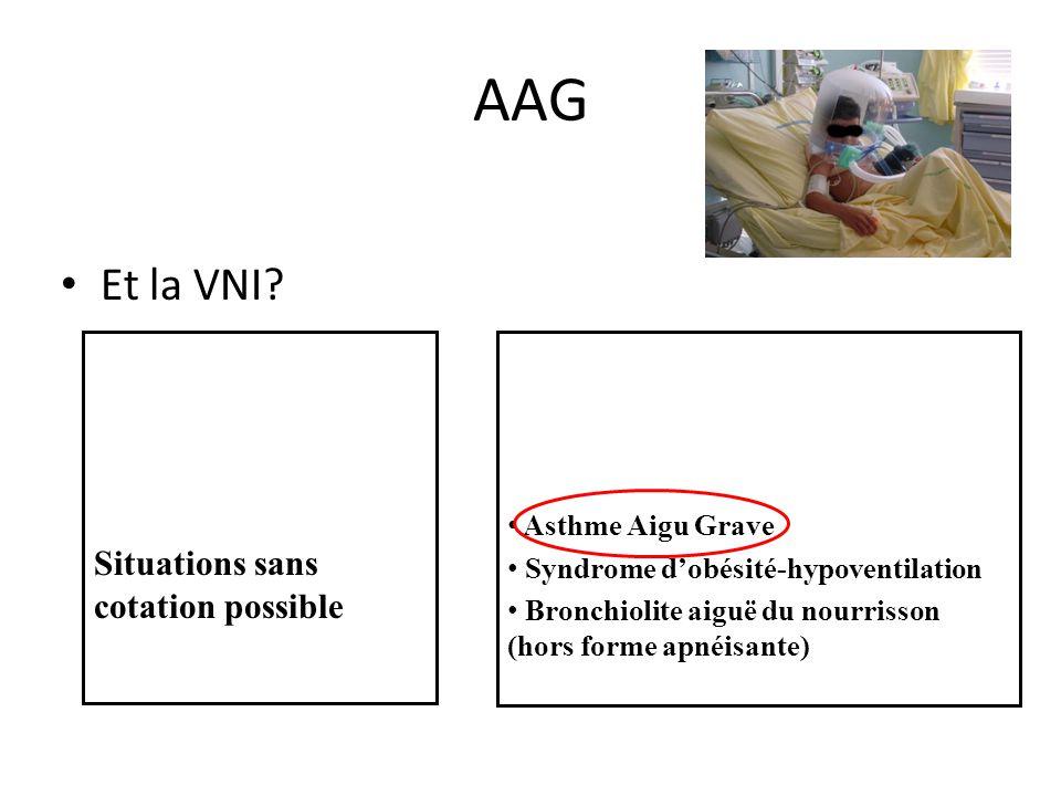 AAG Et la VNI Situations sans cotation possible Asthme Aigu Grave