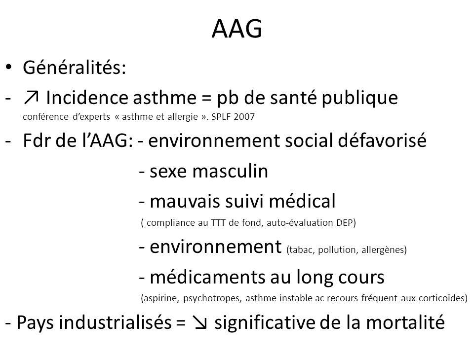AAG Généralités: ↗ Incidence asthme = pb de santé publique conférence d'experts « asthme et allergie ». SPLF 2007.