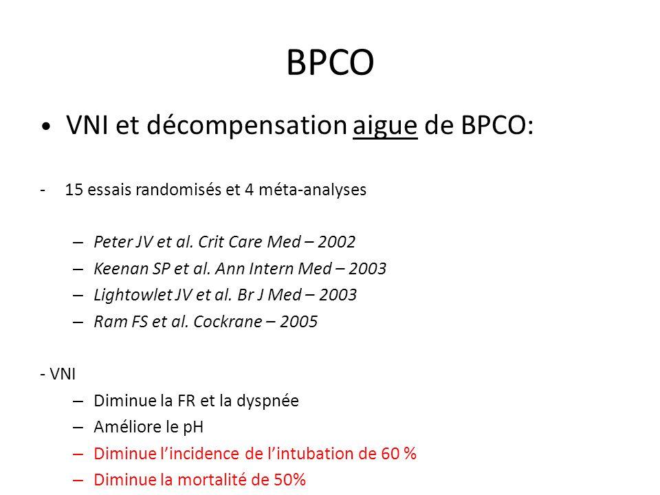 BPCO • VNI et décompensation aigue de BPCO: