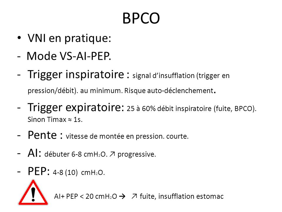 BPCO VNI en pratique: - Mode VS-AI-PEP.