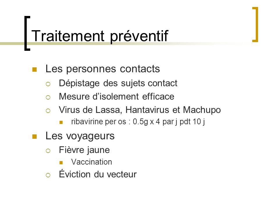 Traitement préventif Les personnes contacts Les voyageurs