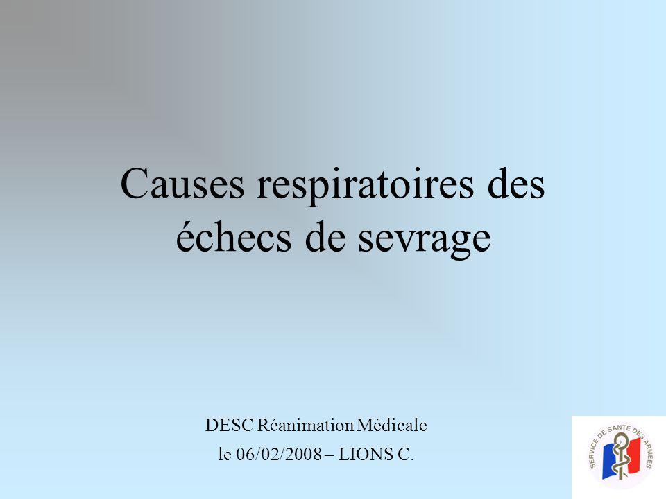 Causes respiratoires des échecs de sevrage