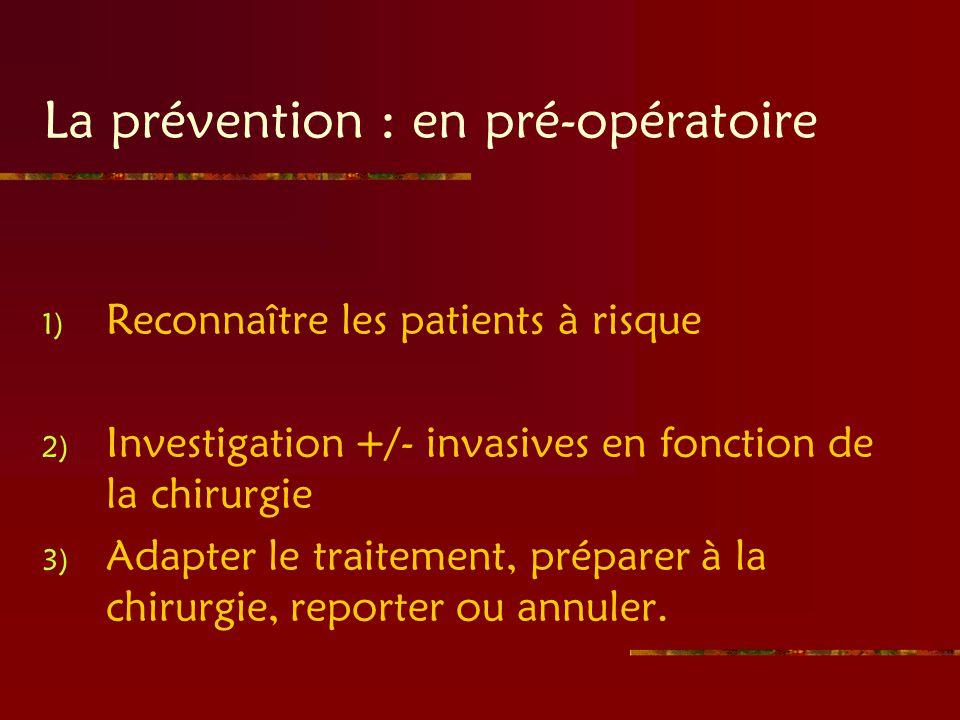 La prévention : en pré-opératoire