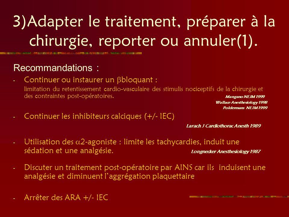 3)Adapter le traitement, préparer à la chirurgie, reporter ou annuler(1).